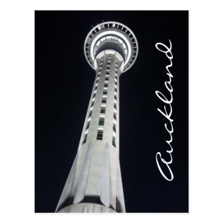 auckland sky tower night postcard