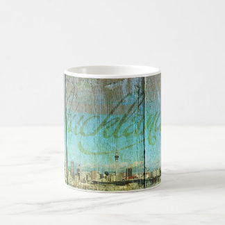 Auckland Waterfront Painted On Old Wood Coffee Mug