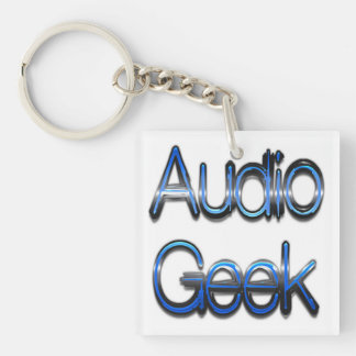 Audio Geek Blue Double-Sided Square Acrylic Key Ring