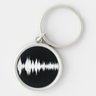 audio wave Silver-Colored round key ring