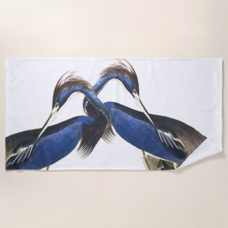 Audubon Blue Louisiana Heron Birds Beach Towel