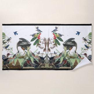 Audubon Collage Birds Wildlife Wetland Beach Towel