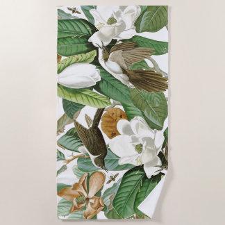 Audubon  Cuckoo Birds Wildlife Flowers Beach Towel