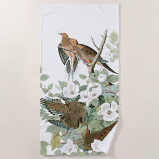 Audubon Dove Birds Wildlife Flowers Beach Towel