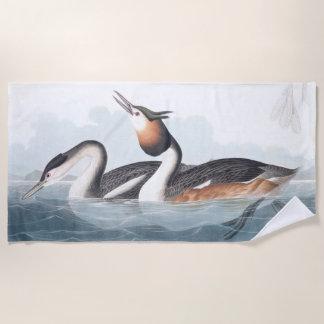 Audubon Grebe Birds Wildlife Wetlands Beach Towel