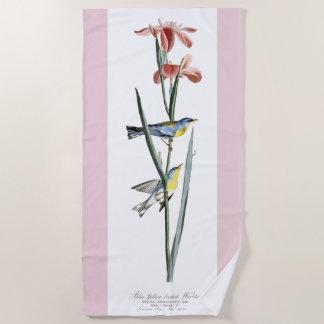 Audubon Warbler Birds Iris Flowers Beach Towel