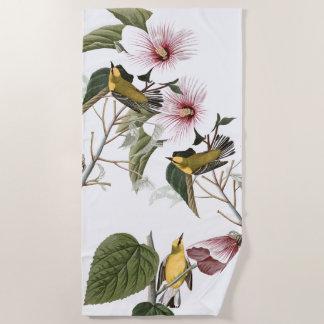 Audubon Warbler Birds Wildlife Flowers Beach Towel