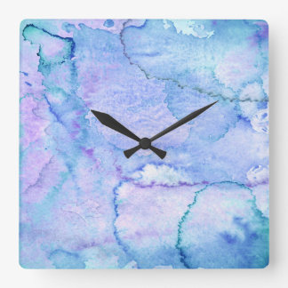 'August' Purple and Blue Watercolor Wall Clock