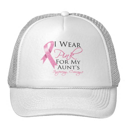 Aunt Inspiring Courage Breast Cancer Mesh Hats