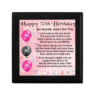 Auntie Poem 30th Birthday Gift Box