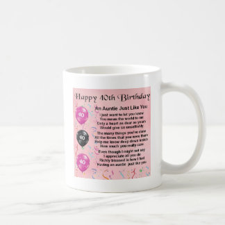 Auntie Poem - 40th Birthday Coffee Mug