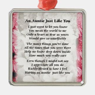 Auntie poem - Pink Floral design Christmas Ornament