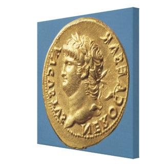 Aureus  of Nero  wearing a laurel wreath Canvas Print