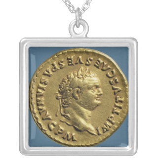 Aureus  of Nero  wearing a laurel wreath Silver Plated Necklace
