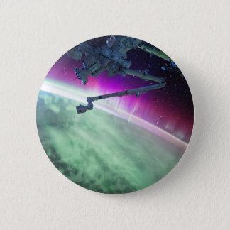 Aurora Borealis from space 6 Cm Round Badge