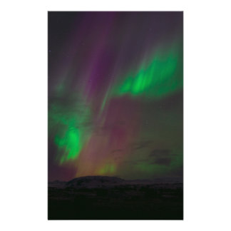 Aurora Borealis Northern Lights Trees Nature Lands Stationery