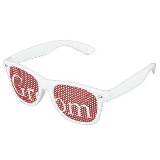Aurora Red with White Wedding Detail Retro Sunglasses