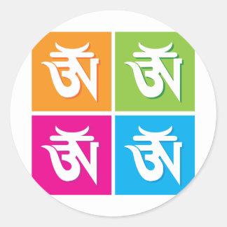 Auspicious Hindu OM / Aum Symbol Round Sticker