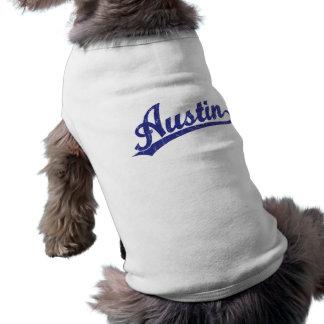 Austin script logo in blue shirt