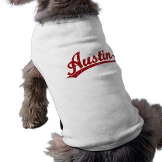 Austin script logo in red shirt