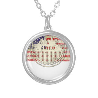 Austin skyline american flag silver plated necklace