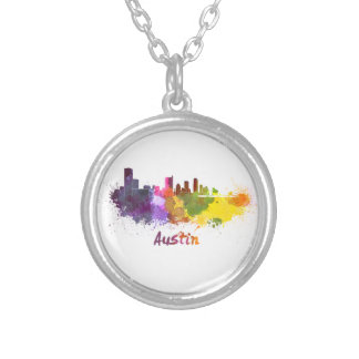 Austin skyline in watercolor silver plated necklace