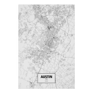 Austin, Texas (black on white) Poster
