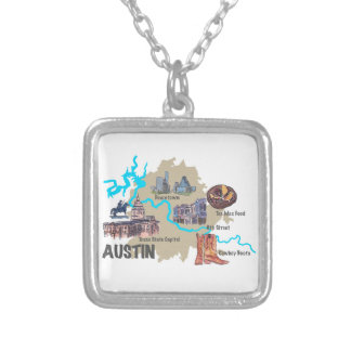 Austin Texas Map Silver Plated Necklace