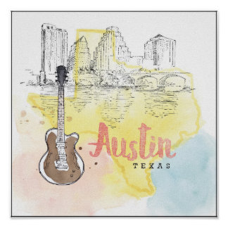 Austin,Texas | Watercolor Sketch Poster