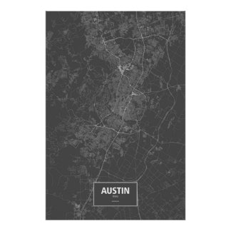 Austin, Texas (white on black) Poster