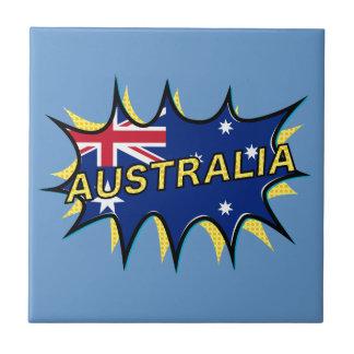 Australia Flag Kapow Comic Style Star Small Square Tile