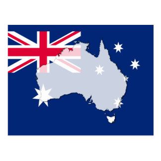 Australia flag map outline postcard