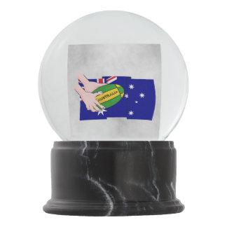 Australia Flag Rugby Ball Cartoon Hands Snow Globe