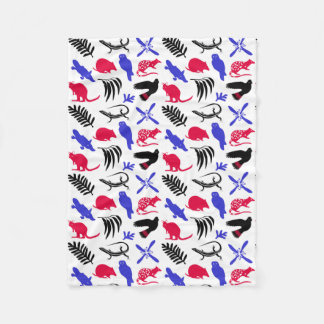 Australian animals blanket blue/red