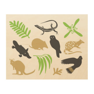 Australian animals wall art green wood prints