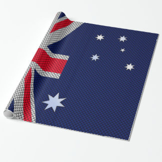 Australian Flag Design Carbon Fiber Chrome Style Wrapping Paper