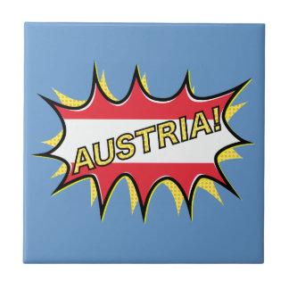 Austria Flag Kapow Comic Style Star Small Square Tile