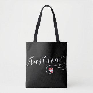 Austria Heart Grocery Bag, Austrian Flag Tote Bag