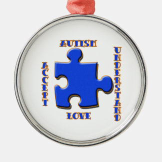 Autism, Acceptance, Love, Understand Silver-Colored Round Decoration