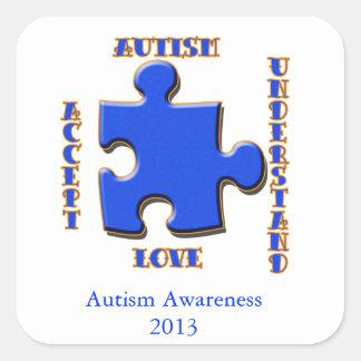 Autism, Acceptance, Love, Understand Square Sticker