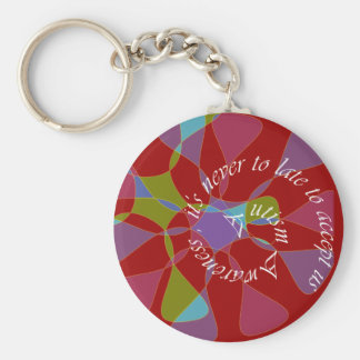 Autism Aware _never too late Basic Round Button Key Ring