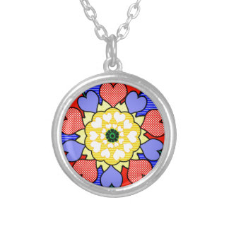 Autism Awareness Friendship Flower - Round Pendant Necklace