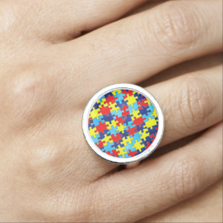Autism Awareness-Puzzle by Shirley Taylor Ring