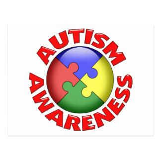 Autism Awareness Puzzle Pinwheel Postcard