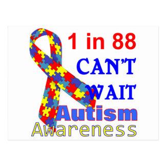 Autism Awareness Puzzle Ribbon Post Card