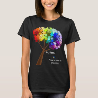 Autism Awareness Rainbow Puzzle Tree T-Shirt