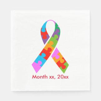 Autism Awareness Ribbon Paper Napkins