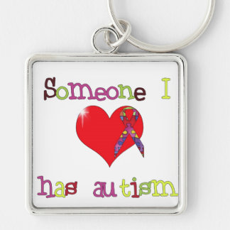 Autism Awareness Silver-Colored Square Key Ring