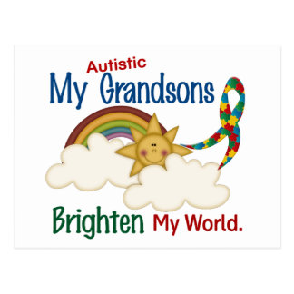 Autism BRIGHTEN MY WORLD 1 Grandsons Postcard
