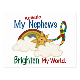 Autism BRIGHTEN MY WORLD 1 Nephews Postcard
